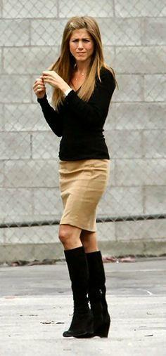 ♥ tan pencil skirt - try Lisette Above the Knee Skirt in Beige Style 603 lisettel.com | black sweater | black knee-high boots | Jennifer Aniston Style | celebrity style