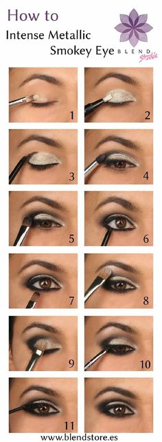 15 Best Beauty Tutorials for Winter 2014-2015 | GleamItUp Black And Silver Eye Makeup, Silver Smokey Eye, Silver Eyeshadow Looks, Makeup For Silver Dress, Sparkle Eyeshadow, Metallic Eye Makeup, White Makeup, Makeup To Go With Red Dress, White Eyeliner Makeup
