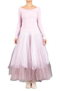 A lilac dancer's dress from Marc Le Bihan featuring a scoop neck and backless corset top, long sleeves and a long ballerina skirt. Ballerina Dress, Lilac, Pink, Wearable Art, Corset, Ready To Wear, Dancer, Backless, Kensington London