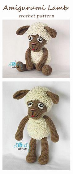 Lamb crochet pattern, sheep amigurumi pattern, häkelanleitung, haakpatroon, hæklet mønster, modèle crochet