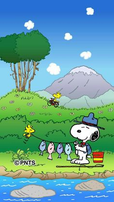 Snoopy and Woodstock After a Day of Fishing Peanuts Cartoon, Peanuts Snoopy, Snoopy Beagle, Camp Snoopy, Charlie Brown Y Snoopy, Snoopy Images, Snoopy Wallpaper, Snoopy Quotes, Snoopy And Woodstock