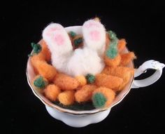 Needle Felted Teacup Easter Rabbit Animal Carrots by McBrideHouse, $59.00