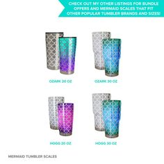 Mermaid scales SVG cutting file for Ozark 30 oz steel tumbler | Etsy. Connected, full-sheet mermaid scales SVG cutting files designed to wrap perfectly around popular tumbler brand.s Compatible with Silhouette and Cricut digital cutting machines.