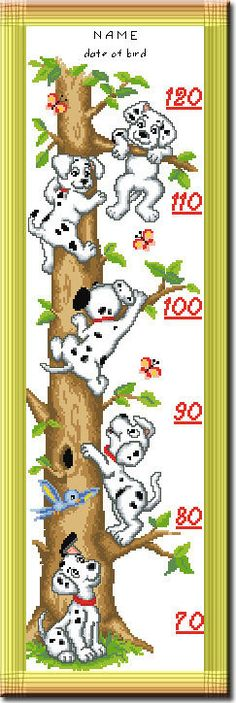 Counted Cross Stitch Kit - Growth Height Chart for baby Lovely Dogs