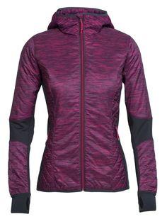 Icebreaker Merino Women's Helix Long Sleeve Zip Fraser Peaks Hooded Jacket, Pop Pink/Stealth Fraser Peaks, Medium. Icebreaker Merino loft. Shaped hood for added warmth and protection. New improved fit for maximum comfort and range of motion. Zoned Quilting for optimal comfort and thermal regulation. Internal storm flap.
