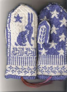 Ravelry: Bunny Mittens graph pattern by Tamsen Thistlehawk-Ranck Fingerless Mittens, Mitten Gloves, Knitted Hats, Knitting Charts, Hand Knitting, Knitting Patterns, Wrist Warmers, Patterns, Tricot