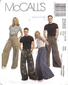 This hilarious rave pants pattern could probably be modified to make Oska Santina type balloon pants. Suit Pattern, Pants Pattern, 2000s Fashion, Fashion Outfits, Fashion Trends, Rave Pants, Mens Slacks, Quoi Porter, Mccalls Patterns