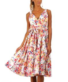Another great find on #zulily! White Floral Surplice Dress by Kushi by Jasko #zulilyfinds