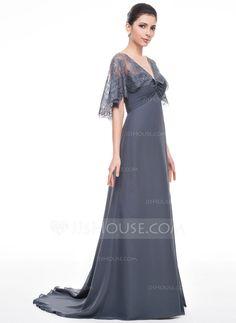 Trompete/Sereia Decote V Sweep/Brush trem De chiffon Renda Vestido para a mãe da noiva com Pregueado Bordado (008058386)