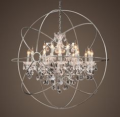 Every good boudoir, (and dining room and bathroom...), needs a crystal chandelier. Restoration Hardware brings da Vinci science in a contemporary color scheme and classic clear crystals to this stunning fixture.   http://media.restorationhardware.com/is/image/rhis/prod2150012?$l-pd1$