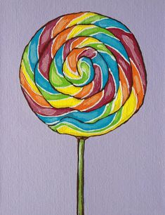 Rainbow Lollipop Painting by Sandy Tracey - Rainbow Lollipop Fine Art Prints and Posters for Sale