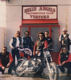 The young Ventura chapter of Hells Angels poses in front of their clubhouse.