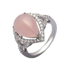 Women's Silver Ring by H.Azeem Pear Drop Rose Quartz Ring (170 CAD) ❤ liked on Polyvore featuring jewelry, rings, rose, silver rings, rose quartz jewelry, rose quartz ring, rose quartz jewellery and cluster rings