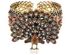 Golden Tone Brown   Crystal Rhinestone Peacock Bird Bracelet Bangle Cuff [Bangles]
