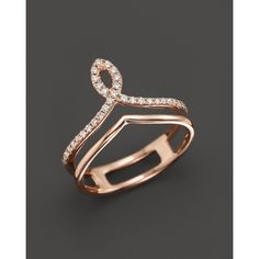Diamond Midi Ring in 14K Rose Gold, .13 ct. t.w. ($1,100) ❤ liked on Polyvore featuring jewelry, rings, engagement rings, pink gold rings, 14k rose gold ring, diamond jewelry and mid knuckle rings