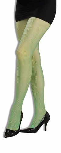 Neon Green Fishnet Pantyhose Tights Stockings Costume
