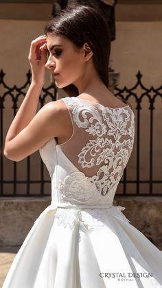 crystal design bridal 2016 sleeveless boat neckline embroidered bodice elegant a  line ball gown wedding dress lace illusion back royal train (ninelli) zbv