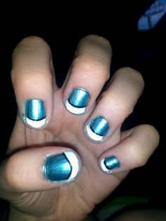 Metallic Blue Nails