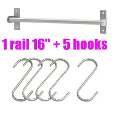 "Ikea Grundtal 16"" Rail + 5 Hooks Stainless Steel Untensil Hanger Pot Pan Holder Kitchen Storage Organizer Set by IKEA. $19.99. Multi-purpose use, can be used in kitchen or office.. Brackets are included, screws NOT included.. IKEA stainless steel set of 1 rail (15 3/4"") and 1 pack of 5 hooks (2 3/4""). Originally designed to hold cutlery caddy, perfect for kitchen utensil storage.. May also be used as pot lid rack or towel rail.. RAIL:  Product dimensions Length..."