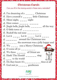 Christmas Carol Fill in the Blanks. Download this puzzle for free at the Kids Corner!: