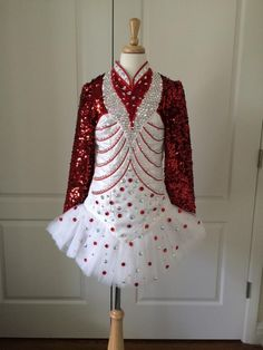 Cute Red Gavin Doherty Irish Dance Dress Solo Costume For Sale