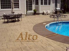 Stamped concrete pool deck with acid staining. Stamped Concrete Designs, Stamped Concrete Driveway, Driveway Paving, Concrete Pool, Concrete Driveways, Backyard Retreat, Backyard Patio, Cobblestone Walkway, Acid Stained Concrete