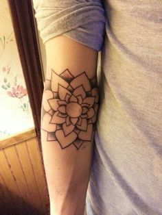 Geometric Flower Tattoo Elbow Lotus Flower Elbow Tattoo on
