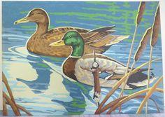 Vintage Paint by number Mallard Ducks 10x14 by beaverislandarts, $5.00