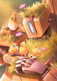 lintufriikki: A family can be birds and a robot My piece for the Hello World zine, a small zine about Overwatch robotics! Overwatch Comic, Overwatch Fan Art, Overwatch Bastion, Cyberpunk, Character Concept, Concept Art, Overwatch Wallpapers, Heroes Of The Storm, Fanart
