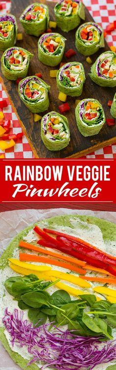 Rainbow Veggie Pinwheels Recipe | Veggie Pinwheels | Kids Lunch Recipe | Pinwheel Sandwich Recipe