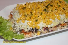 Salata in straturi - Layered salad Vegetables, Food, Salads, Essen, Vegetable Recipes, Meals, Yemek, Veggies, Eten