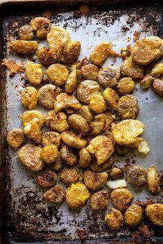 Crispy Salt and Vinegar Smashed Potatoes | halfbakedharvest.com #potatoes #instantpot #easyrecipes #sidedish