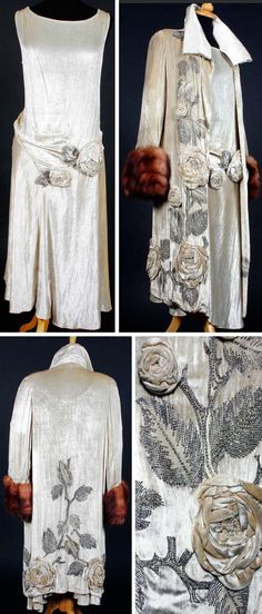 Circa 1920s dress & coat, Molyneux. Silk velvet with matching applied raised flower heads from some fabric amongst beaded foliage worked in diamante, bugle beads, & faux pearls. Sleeveless dress decorated at dropped waist, with asymmetric hem. Coat trimmed in fur at cuffs & lined in cream silk satin crepe, with satin collar that has been reworked at some point. Via Bonham's.