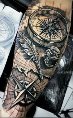 Arm Sleeve Tattoos, Tattoo Sleeve Designs, Forearm Tattoo Men, Tattoo Designs Men, Arm Band Tattoo, Nautical Tattoo Sleeve, Nautical Compass Tattoo, Karten Tattoos, Compass Tattoo Design