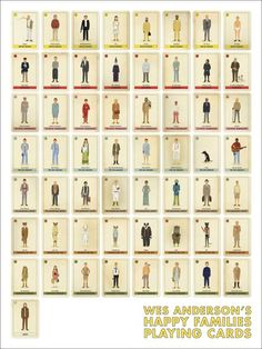 "Wes Anderson's ""happy families"" playing cards."