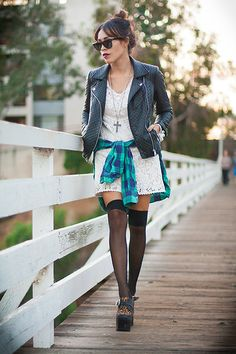 Forever 21 Quilted Leather Jacket, Spell And The Gypsy  White Dress, Jeffrey Campbell Shoes
