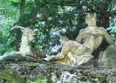 """'Pan and his goat - in Munich [Germany], in a place called """"Nymph Castle"""". Spirit Fanfic, Myths & Monsters, Sculptures, Lion Sculpture, Portraits, Heroes Of Olympus, Greek Gods, Greek Mythology, Ancient Greece"""