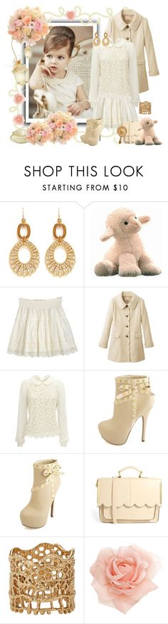 """cream romantic little girl"" by vicky-soleil ❤ liked on Polyvore featuring Lulu Frost, F, Charlotte Russe, ASOS, Aurélie Bidermann and Monsoon"