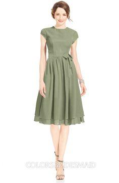 0bf27a3948a Moss Green Mature Fit-n-Flare High Neck Zip up Chiffon Bridesmaid Dresses at