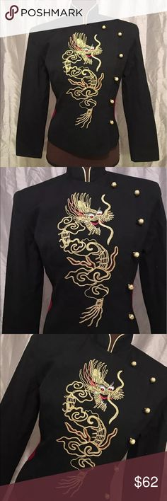 """Cache Embroidered Oriental WOOL Blazer JACKET Sz 4 CACHE Embroidered Oriental DRAGON Wool Blazer Jacket!! Stunning Detailed Jacket w/ Red Rhinestone accented eyes! MSRP- $169.99 Sz 4 Measurements taken while laying flat-  Arm pit to arm pit- 19"""" Waist- 16"""" Sleeve-21.5"""" Shoulder-16.5"""" Length- 20"""" Jacket features shoulder pads... Jacket is in Excellent condition!  Material-  Self- 100% Wool Lining- 100% Acetate _Perfect with a pair of cute distressed Jeans and heels! Dress this Blazer up or…"""