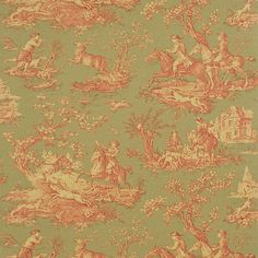 Sanderson Stag Hunting DEGTST103 (Fern/Rust/Ecru) wallpaper from the Toile collection, priced per roll. A lively action scene, which is based on a French toile of the early nineteenth century, this lively energetic scene has been adapted to suit the modern 21st century taste