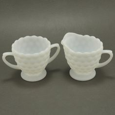 Bubble Creamer Sugar Milk Glass Anchor Hocking Vtg.