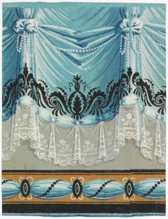 Gathered blue drapery with lace edging in white. Blue ribbon caught with medallions along bottom edge; was probably meant to be cut out to use as chair rail. Both motifs are ornamented with white pearls and black scroll and bead design. Transparent Wallpaper, Flowery Wallpaper, Wallpaper Borders, Decorative Borders, Decorative Panels, Victorian Wallpaper, Victorian Lace, Shades Blinds, Scandinavian Furniture
