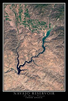 Navajo Lake Colorado - New Mexico From Space Satellite Art Poster