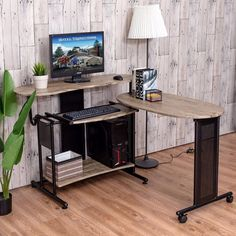 Goplus Expandable Computer Desk L Shaped PC Laptop Table Corner Workstation Home Officem Modern Wood Standing Desk HW53898