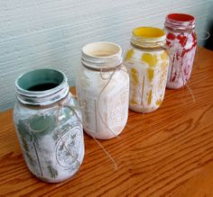 Shabby Chic Mason Jars Painted Distressed by musiqueetprose, $10.00