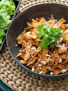 Chicken & Poblano Chilaquiles with Escarole & Avocado Salad Gourmet Recipes, Mexican Food Recipes, Cooking Recipes, Ethnic Recipes, Breakfast For Dinner, Breakfast Dishes, What's Cooking, Cooking Light, Chicken Chilaquiles
