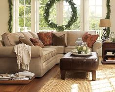 New Living Room Sectional Sofa Ideas Ottomans Ideas Sectional Sofa Decor, Pottery Barn Sectional, Brown Sectional, Sofa Couch, Living Room Sectional, New Living Room, Living Room Furniture, Living Room Decor, Small Living