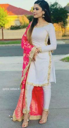 Indian pakistani kurta kurti dress with palazzo dupatta TopTunic Ethnic Bottom # . - Indian pakistani kurta kurti dress with palazzo dupatta TopTunic Ethnic Bottom - Patiala Salwar, Pakistani Kurta, Pakistani Outfits, Punjabi Salwar Suits, Anarkali, Kurti Designs Pakistani, White Salwar Suit, Salwar Suits Simple, Indian Kurta