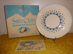 "NIB Box Vintage Marcrest Serving Plate Stetson China Swiss Alpine Chalet 11.5"" #Marcrest"